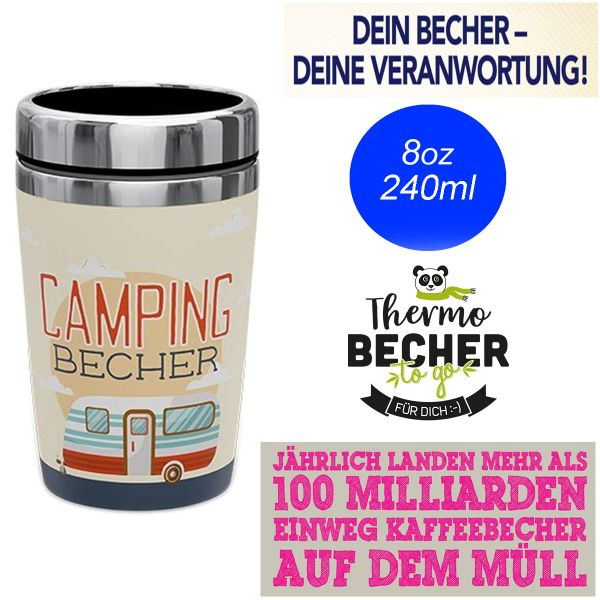 Edelstahl Coffee to Go Becher 240ml Camping Kaffee Thermo-Becher
