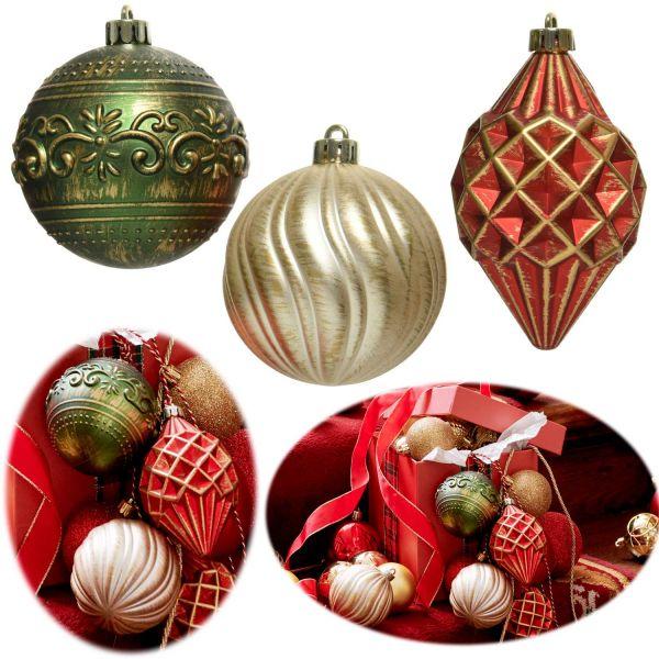 12 Vintage Christbaumkugeln 8cm Kunststoff Rot Grün Perle Weihnachtskugeln