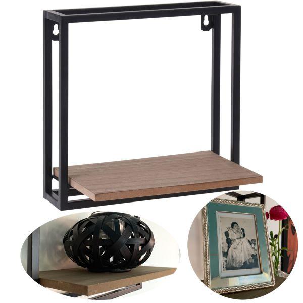 Metall Holz Setzkasten 25x15x25cm Braun Wand-Regal Wandboard Quadratisch