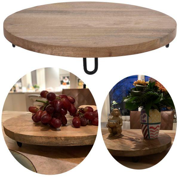 Mango-Holz Vesperbrett 38cm Rund Serviertablett Deko-Tablett Massiv