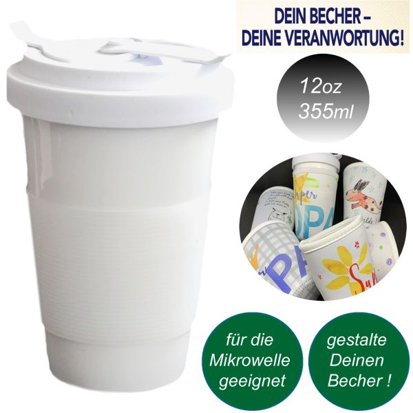 Porzellan Coffee to Go Becher 355ml White Cup Weiß Kaffee Trink-Becher