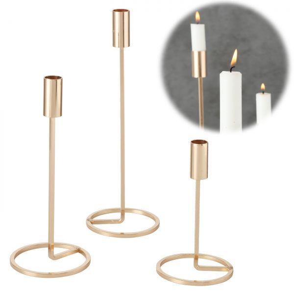 3x Kerzenständer Gold Metall Set Kerzenhalter Kerzenleuchter Stabkerzen