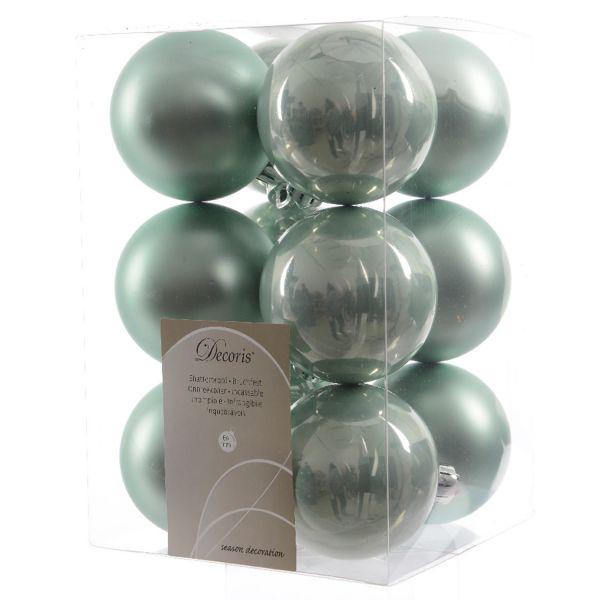 12 Design Weihnachtskugeln 6cm Grün Kunststoff Dekokugel Baumkugel