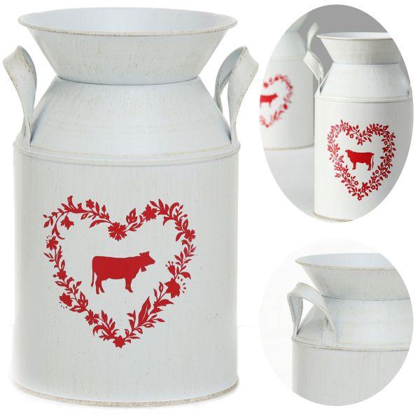 Nostalgie Metall Deko Boden-Vase Kuh 21cm Weiß Rot Milchkanne Kübel