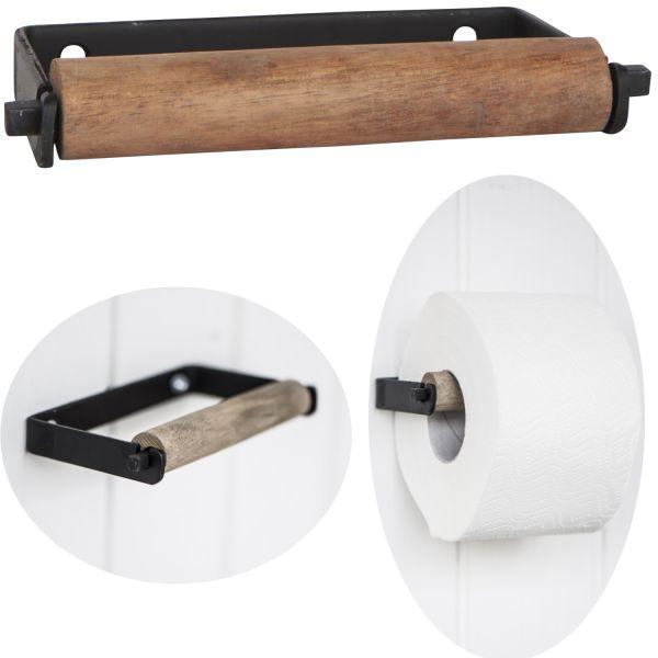 Metall Toilettenpapierhalter Schwarz 13cm Altum Holzrolle Braun