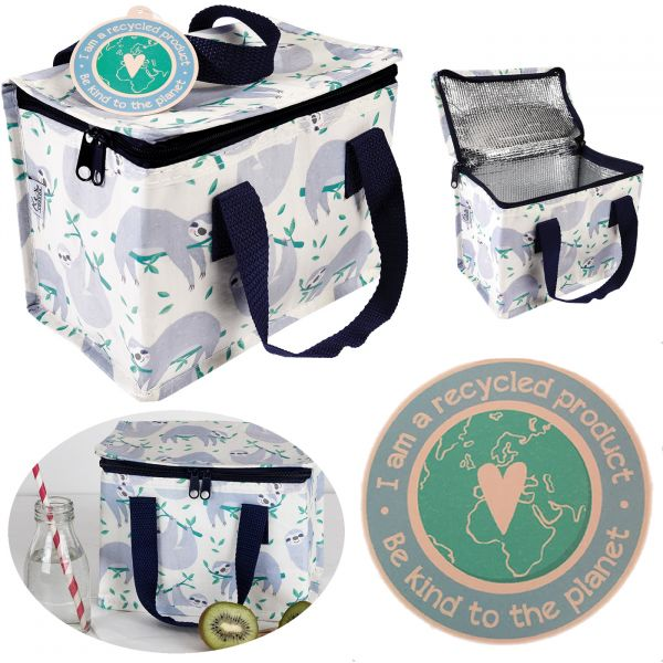 Kühltasche Faultier Grau Recycled Öko Thermotasche Lunchbag Kinder