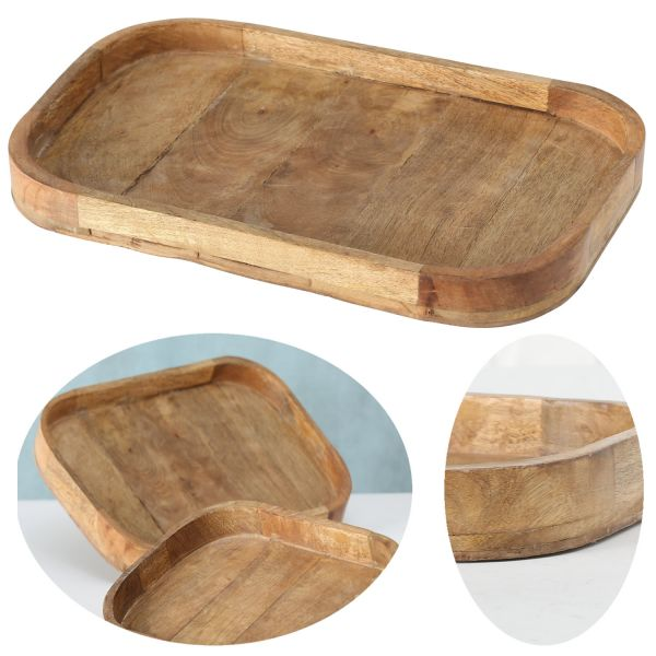 XL Deko-Tablett Mango-Holz Braun 46cm groß Serviertablett Obst-Schale Brot