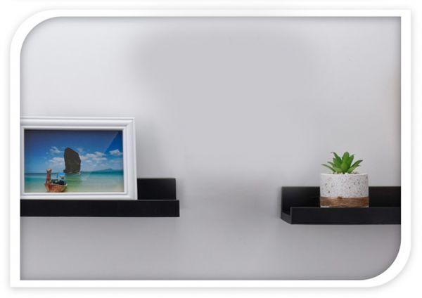 Wandregal Set 2-fach Schwarz 2 Regale Küchen-Regal Bücher Wand-Board