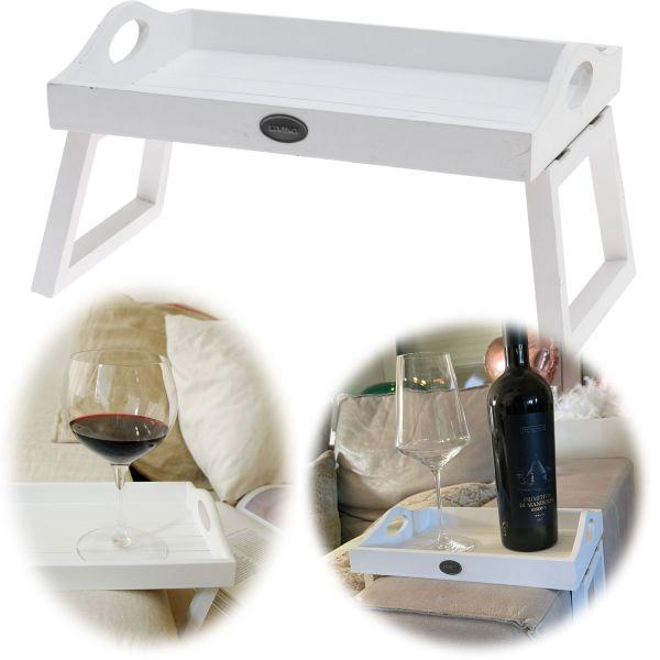 Holz Sofatablett Vintage Weiß Couch-Tablett Knietablett Armlehnenablage