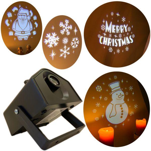 LED Laser Projektor 4 Muster Weihnachten Beleuchtung Deko-Licht X-Mas