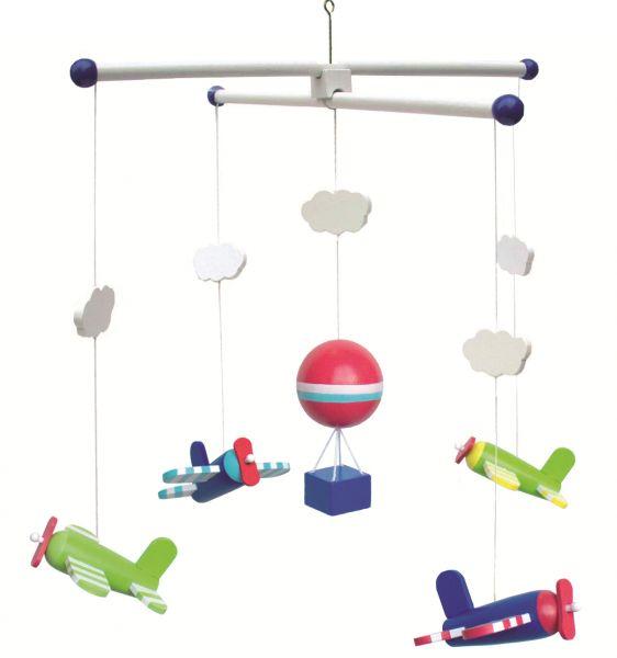 JaBaDaBaDo Holz-Mobile Flugzeug Blau Grün Gelb T220 Baby Kinder-Zimmer