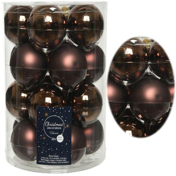 18-20 Design Glas Weihnachtskugeln 6cm Braun Schokolade Christbaum Deko