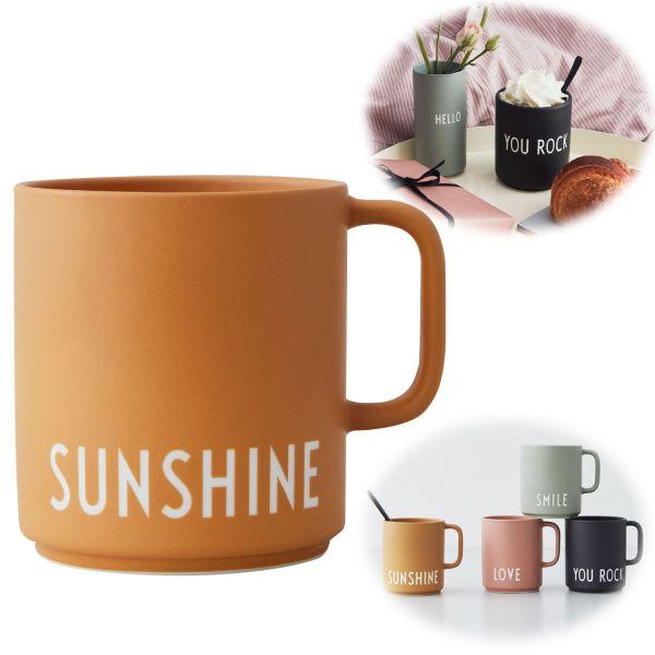 AJ Porzellan Kaffeebecher Sunshine Design Letters Henkel Kaffeetasse Deko Becher