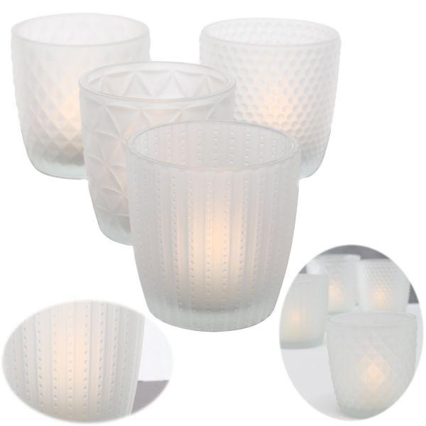 4 Glas Teelichthalter Set Weiß Matt 7cm Teelichtglas Windlicht-Halter