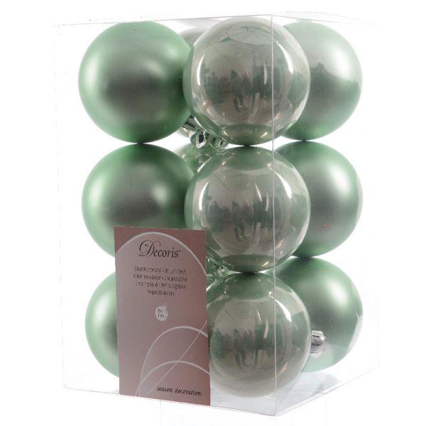 12 Design Weihnachtskugeln 6cm Salbei-Grün Kunststoff Deko Baumkugel