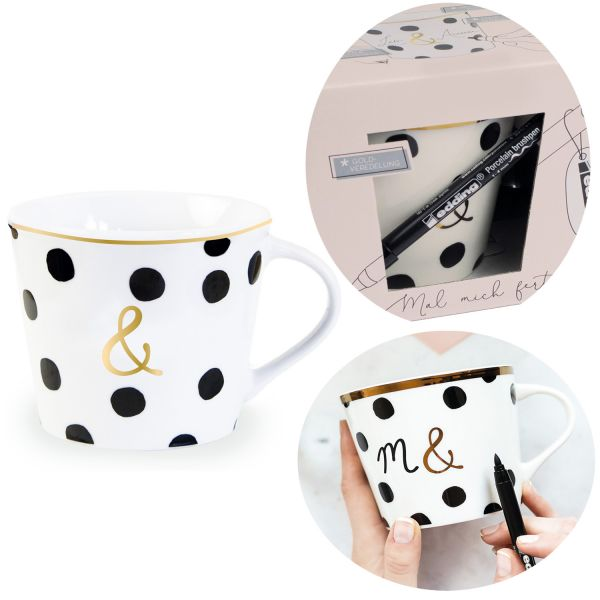 Kaffeebecher zum Bemalen 420ml Echt-Gold ... und ... Create your Own