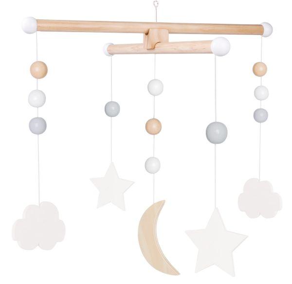 JaBaDaBaDo Holz-Mobile Wolken Sterne Grau Weiß T235 Baby Kinder-Zimmer