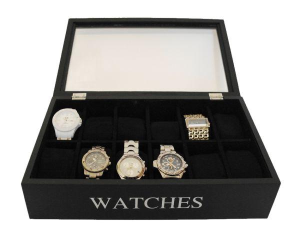 Uhrenbox Uhrenschatulle Holz Schwarz 12 Uhren Uhrenkiste Uhrenkasten