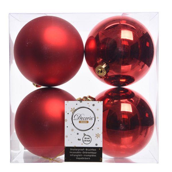 4 Design Weihnachtskugeln 10cm Rot Kunststoff Dekokugel Baumkugel