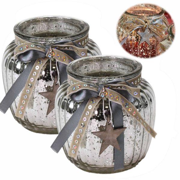 2x Glas Windlicht Silber Stern 11cm Set Teelichthalter Teelichtglas