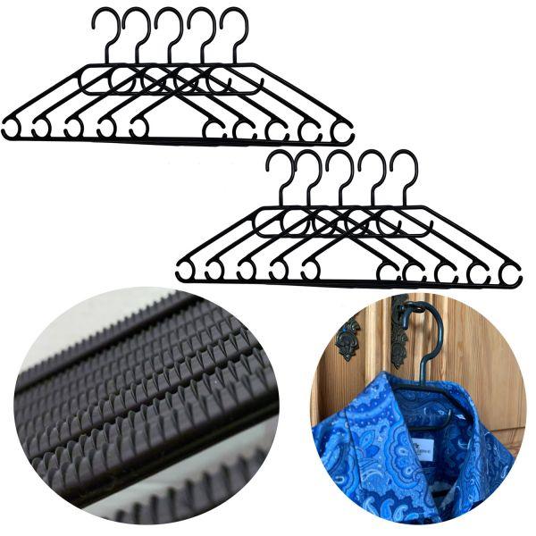 10 Kleider-Bügel Schwarz Wäschebügel Anti-Rutsch Kunststoff Hosen-Steg