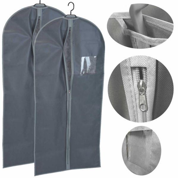 Reise Kleidersack 2 Stück 60x135 Kleiderschutzhülle Premium Vlies Grau
