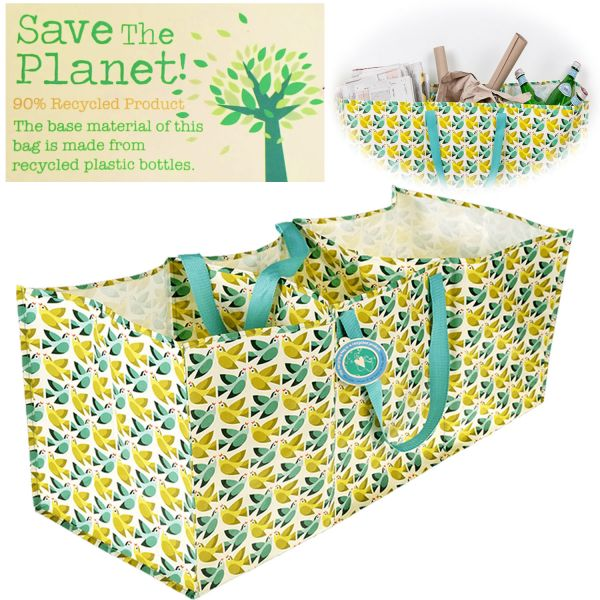 XXL 3-fach Recycled Jumbo Bag Vögel Grün 75cm Allzweck-Tasche Aufbewahrung