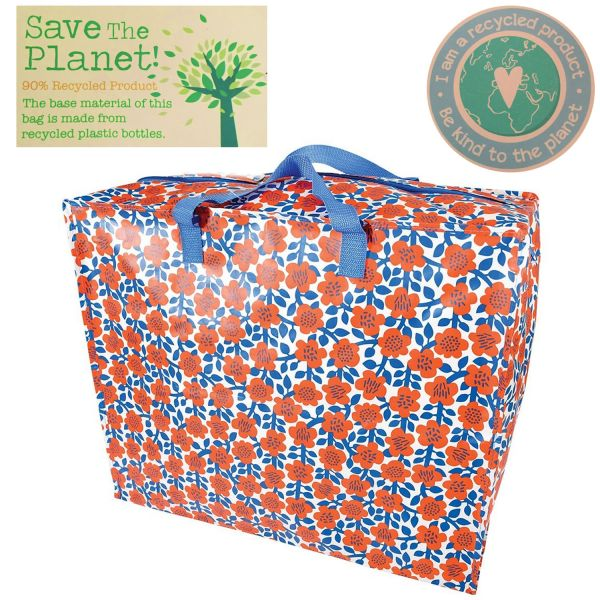 XXL Jumbo Bag Blumen Blau Recycled Öko Allzwecktasche Einkaufstasche