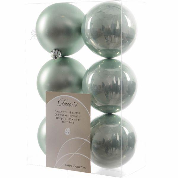 6 Design Weihnachtskugeln 8cm Grün Kunststoff Dekokugel Baumkugel