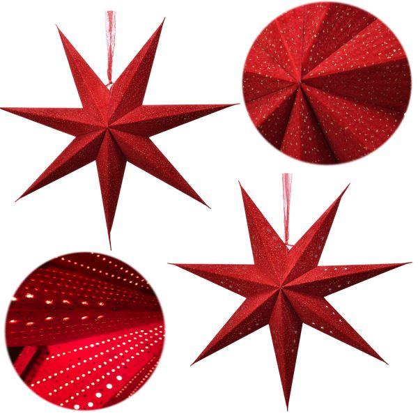 3D Samt Faltstern Ø 60cm FSC Rot Beleuchtet Weihnachtsstern Papierstern