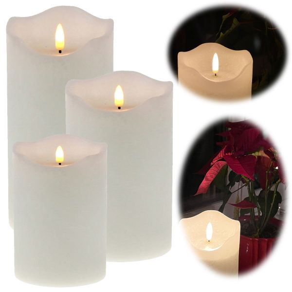 LED 3D Stumpenkerze Creme Weiß 3´er Set Echtwachs flackernde flammenlose Kerze