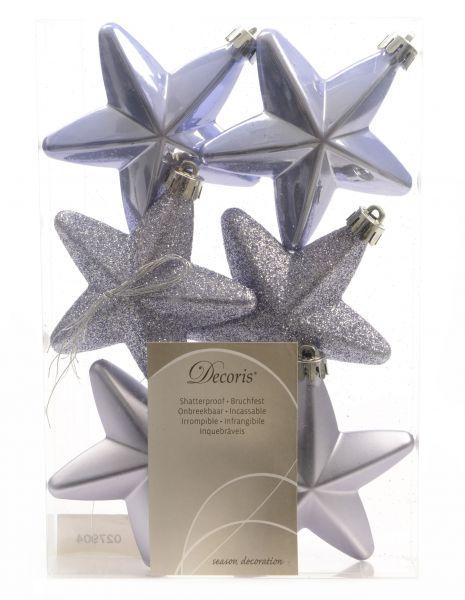 6x XL Weihnachts-Stern Lila Violett 7,5cm Fenster-Hänger Hänge-Deko