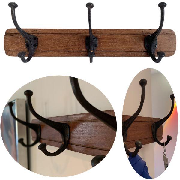 Vintage Wand-Garderobe Teak Holz 3 Haken Braun 45cm Garderoben-Leiste